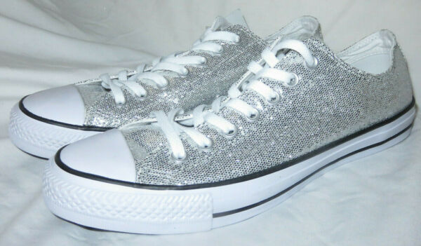 CONVERSE All-Star Ox Lo Top Sneakers Chuck Taylor Silver Glitter Men 11 Women 13