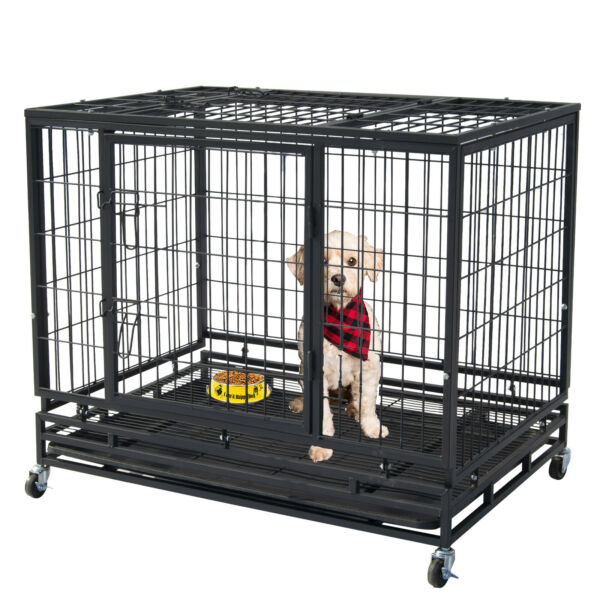 46quot; Pet Dog Cage Heavy Duty Strong Metal Wire Crate Kennel Playpen for Training