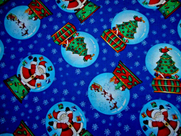 Christmas Fabric By The Yard Snow Globes White Snowflakes on Dk Blue Cotton #57