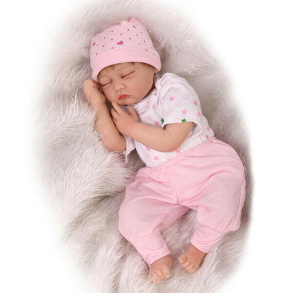 Pinky 55cm Silicone Real Looking Reborn Toddler Lifelike Baby Doll Sleeping