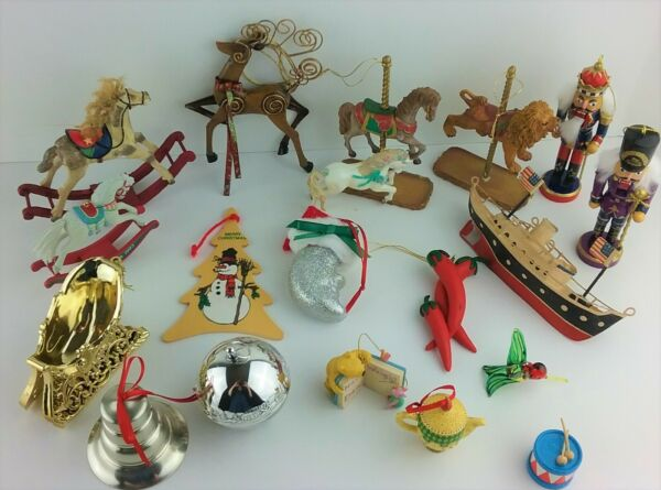 Vintage Christmas Ornaments Nutcracker Soldiers Horses Bells & More