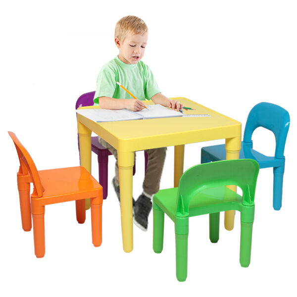 Set of Plastic Table And Chair for Children, Kids Wood Table and 4 Chairs Set