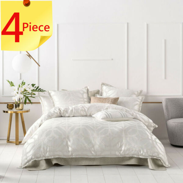 Linen House Treillage Neutral Duvet Quilt Cover Set 4 Piece Pack Super King AU $464.95