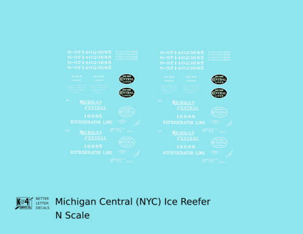 K4 N Decals Michigan Central Wood Ice Reefer White New York Central $6.85
