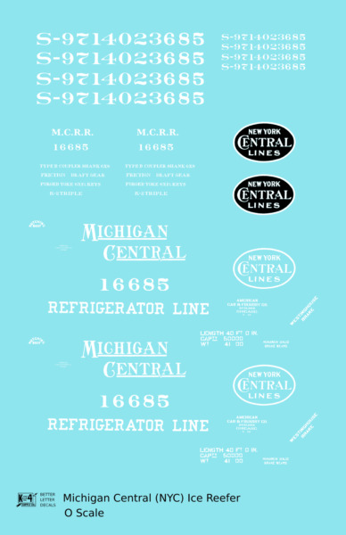 K4 O Decals Michigan Central Wood Ice Reefer White New York Central $6.85