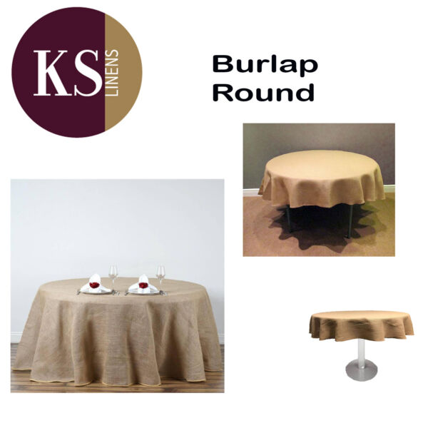 Round Burlap Tablecloth 108 inches
