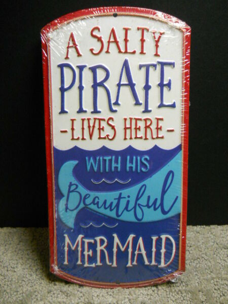 Salty Pirate Lives Here W His Beautiful Mermaid Metal Sign Beach Nautical Decor $17.95