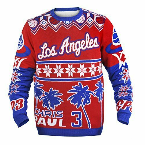 FOCO NBA Men's Los Angeles Clippers Chris Paul #3 Player Ugly Sweater