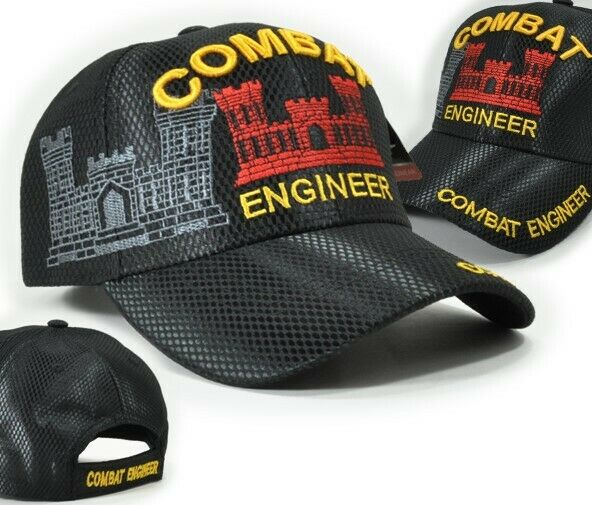 US ARMY COMBAT ENGINEER BLACK TEXTURED MILITARY VETERAN ADJ BACK HAT CAP NEW