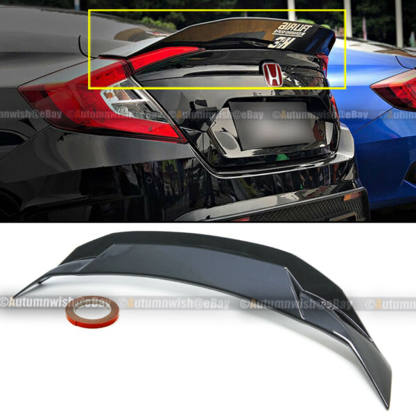 For 16-20 Civic 4DR Sedan Glossy Black HighKick Duckbill Rear Trunk Wing Spoiler