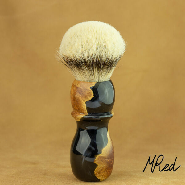 Hwm Silvertip 1 332in Badger Hair & Root & Fine Resin Shaving Brush MRed France