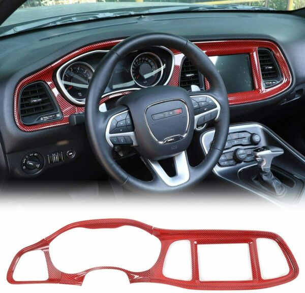 Console Dashboard Panel Cover Trim for Dodge Challenger 2015 Red Carbon Fiber $98.99