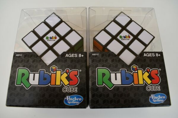 Lot of 2 Rubiks Cube 3x3 Original Brain Teaser Puzzle Strategy w Stand Hasbro
