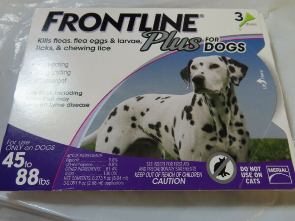FRONTLINE PLUS DOGS 45-88Lbs FLEA & TICK CONTROL 3 DOSES NEW SEALED $27.85