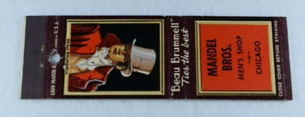 Early Rare MANDEL BROS.MEN'S SHOP Matchbook-Great Graphics-CHICAGO IL