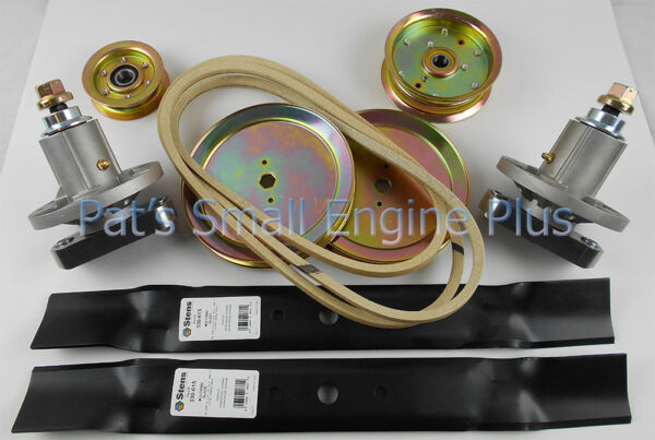 John Deere 42quot; Lawn Mower Deck Rebuild Kit w Spindle Pulleys L110 L111 L118 L120
