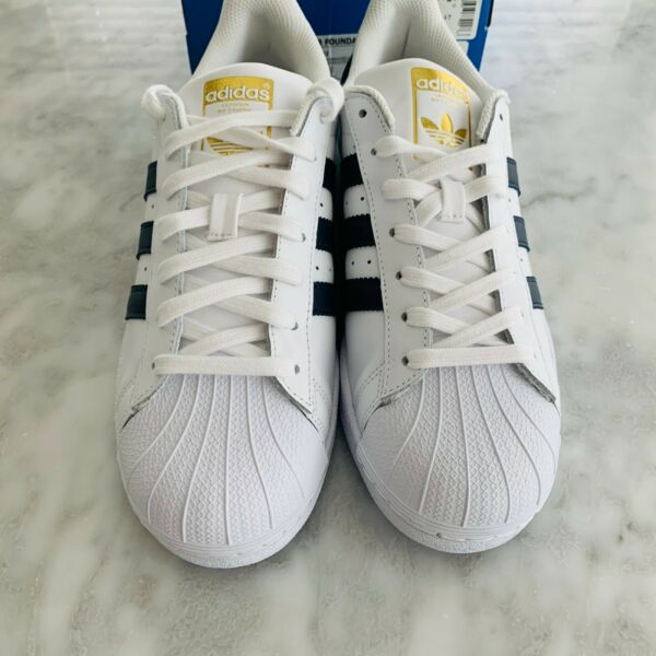 Adidas Superstar Foundation White/Navy Blue/Gold Size 8.5 NEW w/box BY3712