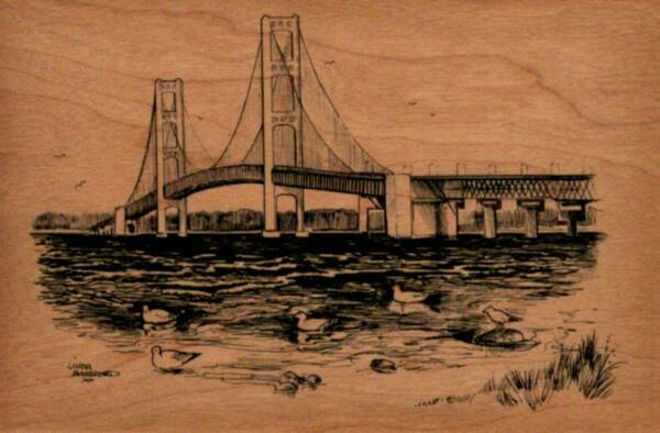 Wooden Postcard - Mackinac Bridge 2 - Made from 2 pieces of 1200