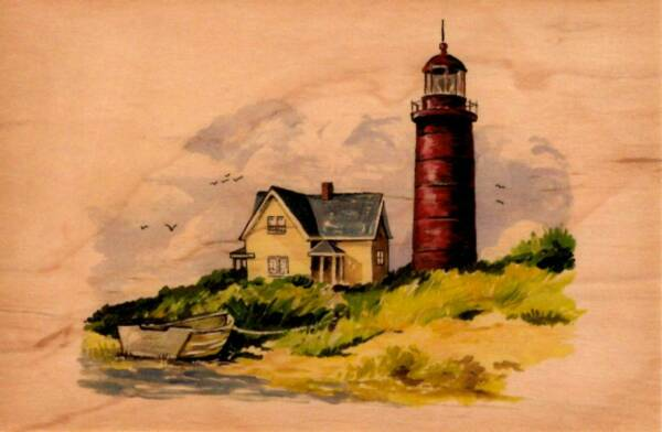 Wooden Postcard - Lighthouse - Made from 2 pieces of 1200