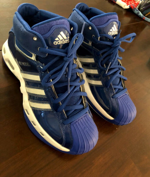 Mens Adidas Basketball Pro Model 10.5 - Blue/White - NEW ! - PATENT LEATHER -