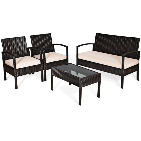 4PCS Modern Patio Rattan Conversation Furniture Set Cushioned Seat Glass Table $199.79