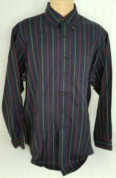 BROOKS BROTHERS Mens Striped Long Sleeve Button Up Dress Shirt Size L Large
