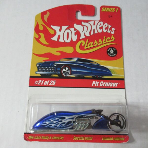2005 Hot Wheels Classics Series 1 Die Cast Pit Cruiser Motorcycle Blue #21 of 25