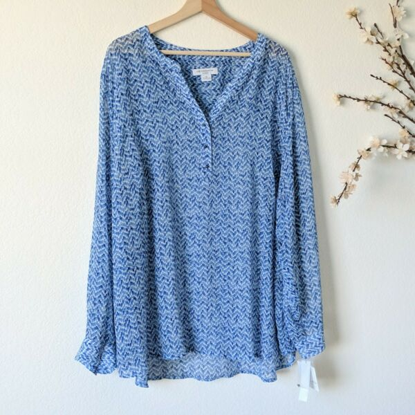 LIZ CLAIBORNE NEW Blue Blouse Long Sleeve Printed Colorful NWT Womens Size 3X $24.98