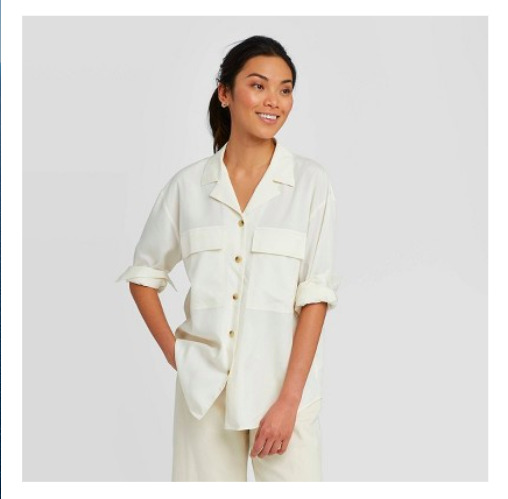 Women's Long Sleeve Button Down Blouse Shirt Pockets - A New Day - Shell - XS $12.99
