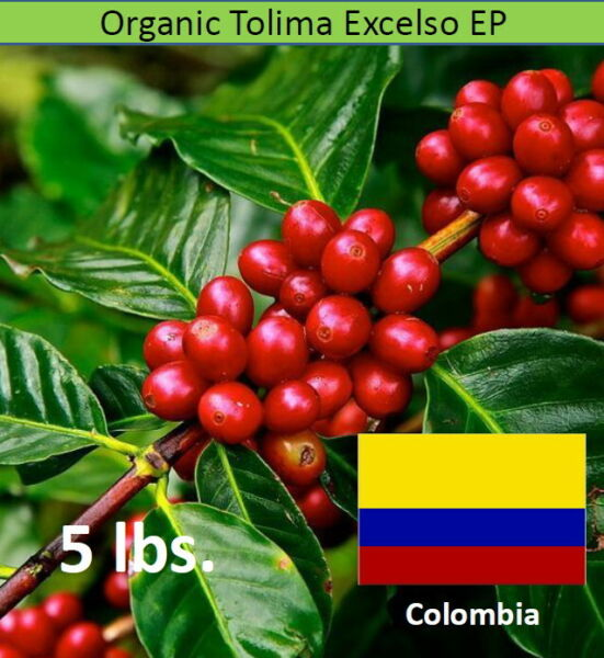 Organic Green Unroasted Coffee Beans Colombian Tolima Excelso EP 5 lbs.