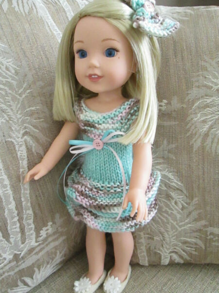 Doll Dress for a 14 inch Doll Party Dress with Bow
