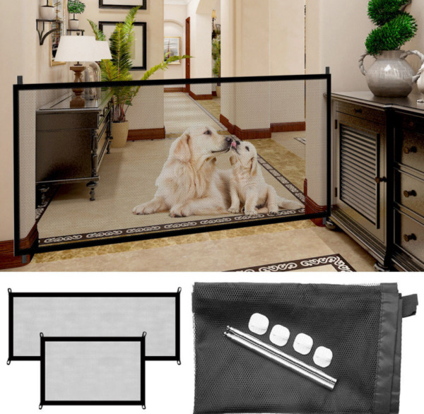Pet Dog Gate Retractable Safety Guard Folding Baby Toddler Stair Gate Isolation $11.99
