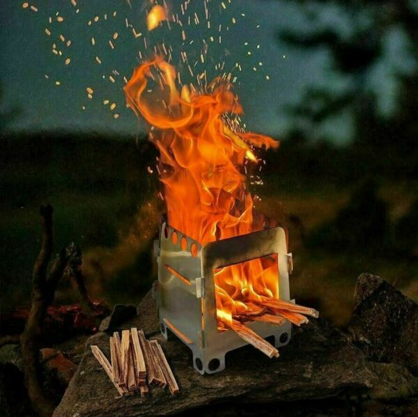 Wood Burning Folding Survival Emergency Stove Lightweight Camping Gear Hiking