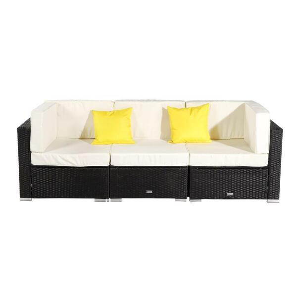 3 PCS Patio Furniture Sectional Sofa Set Outdoor Rattan Wicker Cushioned Couch $279.95