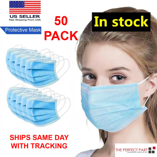 50 PCS Face Mask MEDICAL Surgical Dental Disposable ASTM LEVEL 3 Mouth Cover Ear $12.89