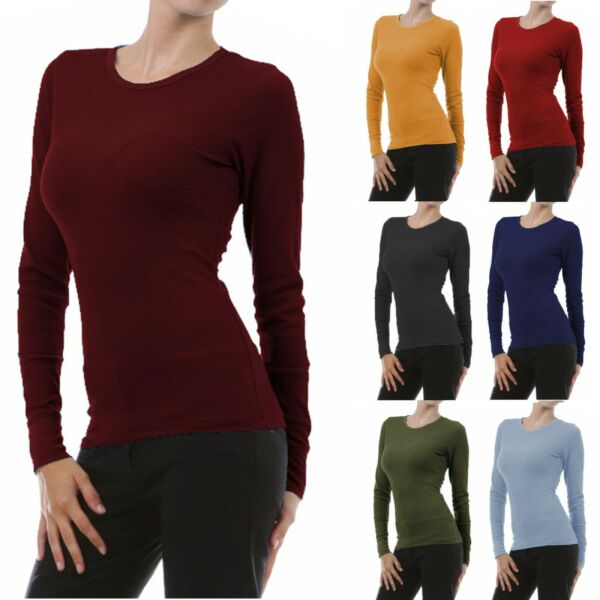 Womens Long Sleeve Thermal Top Crew Neck T Shirt Waffle Knit Layering Warm Soft