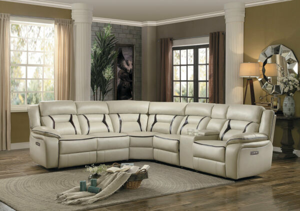 NEW Modern Sofa Sectional Beige Faux Leather Power Reclining Living Room Set F6F $2454.86