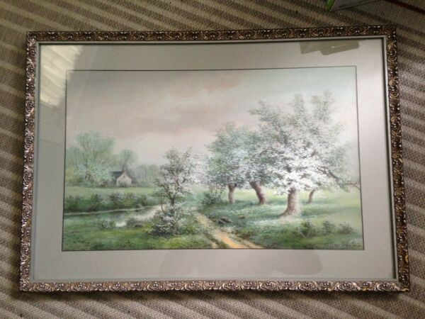 19th c Watercolor Landscape Painting by listed artist Allen FontaineNY Framed