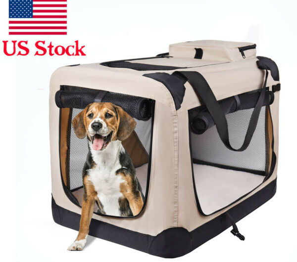 Pets Dog Soft Crate Kennel for Pet Indoor Home amp; Outdoor Use Soft Sided 3 Door $64.99
