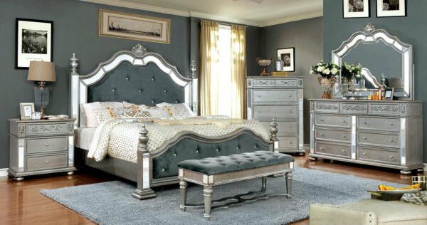 Traditional Mirrored Silver 5 pieces Bedroom Set w Queen Fabric Poster Bed ICAN