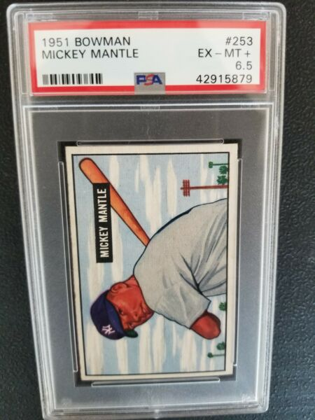 1951 Bowman Mickey Mantle RC Rookie PSA 6.5 EX-MT+ #253 Amazing Eye Appeal WOW