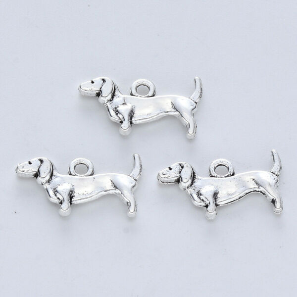 8 Dachshund Dog Charms Weenie Dog Jewelry Making Supplies Antiqued Silver 19mm $2.87