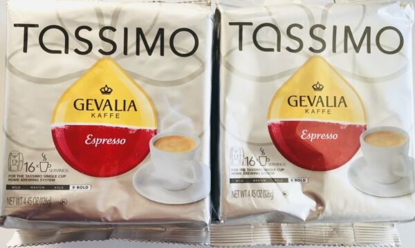 Tassimo Gevalia Espresso Extra Bold Coffee T Discs 32 Servings Set Of 2 packages