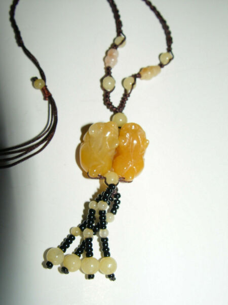 Yellow Honey Jade Jadeite Expandable necklace with Carved Chinese Foo Lion Dogs $192.00