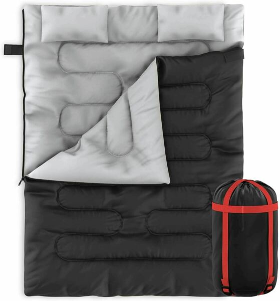 Zone Tech 2 In 1 Travel Camp Sleeping Bag Queen Size Sleeping Bag With 2 Pillows $59.99