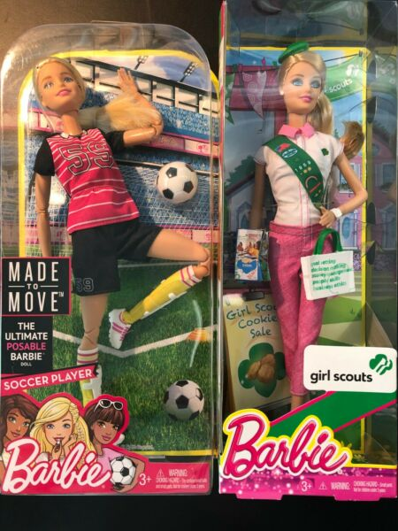 Lot of 2 Barbie Dolls - Made-To-Move Soccer & Blonde Girl Scout DVF69 BJP31 NRFB