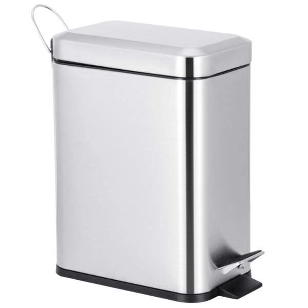 Stainless 5L Steel Trash Can Household Pedal Wastebasket Ashcan Bathroom Kitchen
