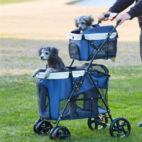 4 Wheels Double Pet Stroller for 2 Small Medium Dogs amp; Cats Folding Travel Cat $89.99