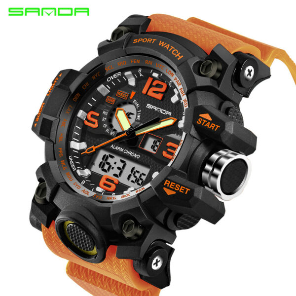 SANDA Men#x27;s Military Waterproof Sport Watches Quartz Analog Digital GMT Watch US