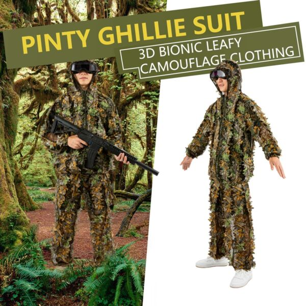Hunting Ghillie Suit Leafy Camo Jacket Pants for Men Women Tactical Gear Zipper